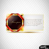 Glossy metal speech bubble with paper card and red ribbons (congratulations postcard)