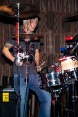 Live drummer in nightclub