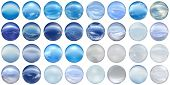 3d blue glass spheres set or collection isolated on white background,ideal for 3D symbols, signs or web buttons. It is a sphere reflecting a blue sky with clouds