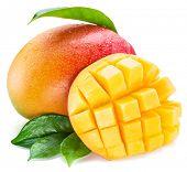 Mango cubes and mango fruit. Isolated on a white background. poster
