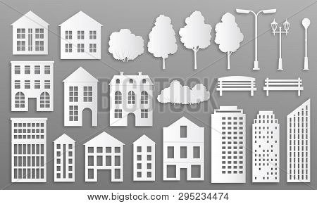 poster of Paper Cut Buildings. House Mansions Silhouettes, White Origami City Cottage, Town Houses With Park E