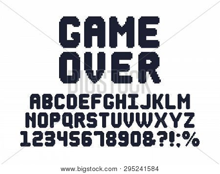 poster of Computer 8 Bit Game Font. Retro Video Games Pixel Alphabet, 80s Gaming Typography Design And Pixels