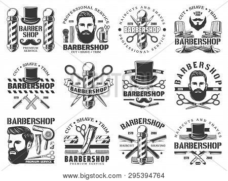 poster of Barbershop Vector Icons Of Hair, Beard And Mustaches Shave Service. Hipster Man Head With Razor Blad