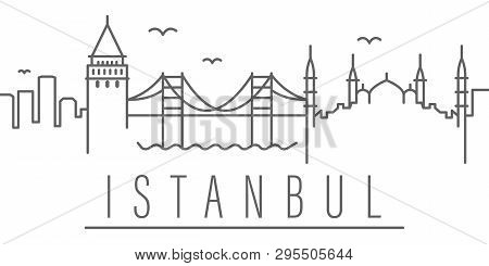 Istanbul City Outline Icon Elements
