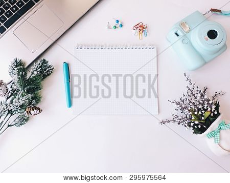 poster of Home Office Workspace Mockup.workspace Top View, Copy Space.white Desk Office With Blank Notebook, C
