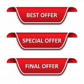 Set Of Tags Ribbons. Best Offer, Special Offer, Final Offer poster