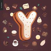 Dessert Font - Letter Y - Modern Flat Vector Concept Digital Illustration Of Temptation Font, Sweet  poster