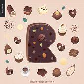 Dessert Font - Letter R - Modern Flat Vector Concept Digital Illustration Of Temptation Font, Sweet  poster