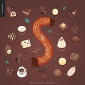 Dessert Font - Letter S - Modern Flat Vector Concept Digital Illustration Of Temptation Font, Sweet  poster