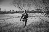 Re-enactor Dressed As World War Ii Russian Soviet Red Army Officer Soldier Walking Through Autumn Me poster