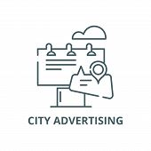 City Advertising Line Icon, Vector. City Advertising Outline Sign, Concept Symbol, Flat Illustration poster