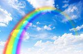 bright rainbow in the sky
