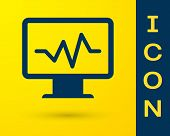 Blue Computer Monitor With Cardiogram Icon Isolated On Yellow Background. Monitoring Icon. Ecg Monit poster