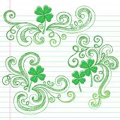 St Patricks Day Four Leaf Clover Sketchy Doodle Shamrocks Back to School Style Notebook Doodles Vector Illustration Design Elements on Lined Sketchbook Paper Background