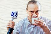 Singer Man Old School Fashioned Microphone Hairstyle Karaoke Portrait Face Blue Eyes Long Hair Retro poster