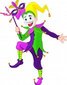 stock photo of jestering  - Clip art illustration of a cartoon Mardi Gras jester holding a mask - JPG
