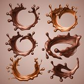 Set Of Realistic Splashes And Drops Of Melted Dark And Milk Chocolate. Dynamic Circle Splashes Of Wh poster