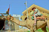 Senior tourist riding camel in Nubian village, Egypt