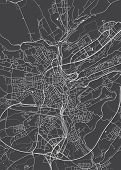 Luxembourg City Plan, Detailed Vector Map Detailed Plan Of The City, Rivers And Streets poster