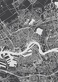Rotterdam City Plan, Detailed Vector Map Detailed Plan Of The City, Rivers And Streets poster