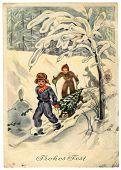 Gdr  - Circa 1954: Retro Postcard Printed In The East Germany (gdr) Shows Two Boys On Sled Driven By