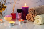 Spa Treatment Set With Scented Salt, Candles, Towels And Aroma Oil poster