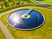 Aerial view to sewage treatment plant. Grey water recycling. Waste management in European Union. poster