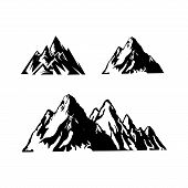 Mountain Tourism And Rock Climbing Icon Set. Mountain Top Black Silhouette With Snowy Peak, Mountain poster