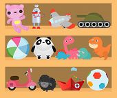 Kids Toys On Wood Shop Shelves, Cartoon Toy On Baby Shopping Wooden Shelf. Dinosaur, Robot, Ca,r Dol poster