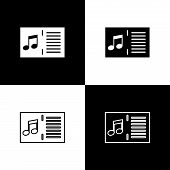 Set Music Book With Note Icons Isolated On Black And White Background. Music Sheet With Note Stave.  poster