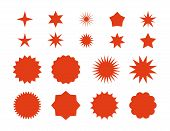 Star Burst Stickers. Red Retro Sale Badge, Flat Price Tags Silhouettes, Starburst Labels Graphic Tem poster
