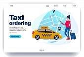 Web Page Design Templates For Taxi Ordering, Work In A Taxi, Mobile App For A Call Taxi Service. Gir poster