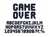 Computer 8 Bit Game Font. Retro Video Games Pixel Alphabet, 80s Gaming Typography Design And Pixels  poster