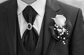 closeup shot of groom suit with buttonhole