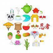 Spirit Of China Icons Set. Cartoon Set Of 25 Spirit Of China Icons For Web Isolated On White Backgro poster