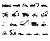 stock photo of bulldozer  - Set of transport silhouette - JPG