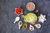 Ingredients For Cooking Tuna Salad: Fresh Iceberg Lettuce, Cherry Tomatoes, Mozzarella Cheese, Canne poster
