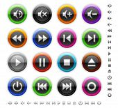 Round colored media buttons