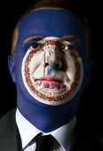 Us State Of Virginia Flag Painted Face Of Businessman Or Politician