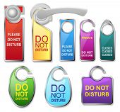 Hotel door signs vector - do not disturb label set and doorhandle. For your design, website, present