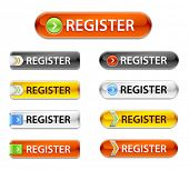 New web glossy register buttons. Registration sign board rectangular.