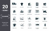 Cleaning Set Icons Collection. Includes Simple Elements Such As Loundry Delivery, Dry Cleaning, Expr poster