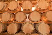 wine barrels in old wine cave