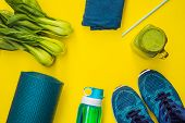 Everything For Sports Turquoise, Blue Shades On A Yellow Background And Spinach Smoothies. Yoga Mat, poster