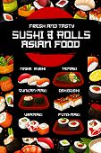 Japanese Sushi Vector Menu With Asian Cuisine Rice, Fish And Seafood Ingredients. Salmon Rolls, Shri poster