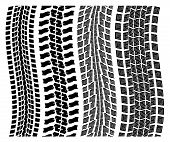 Vector Set Of Detailed Tire Prints