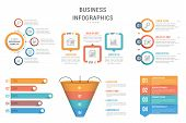 Six Infographic Templates For Web, Business, Presentations - Steps, Options, Funnel Diagram, Bar Gra poster