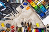 Large Artist Accessories Set. Collections Of Paint Brushes, Tube Paint, Watercolor Paints, Pastel. A poster