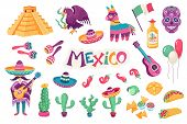 Mexican Culture Traditional Symbols Collection. Sombrero With Guitar,  Maracas, Cactus And Jalapeno  poster