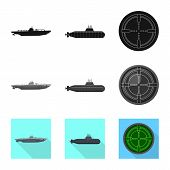 Vector Design Of War  And Ship Icon. Set Of War  And Fleet Stock Vector Illustration. poster